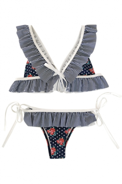 Chic Striped Floral Printed V Neck Sleeveless Ruffle Detail Bikini