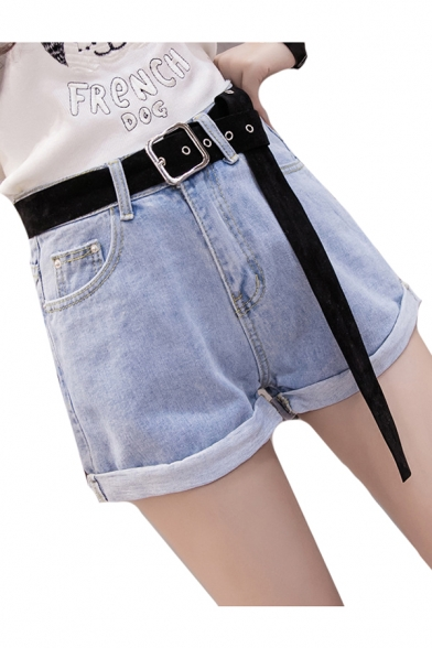 Chic Zip Fly Plain Roll Cuff Hot Pants Denim Shorts
