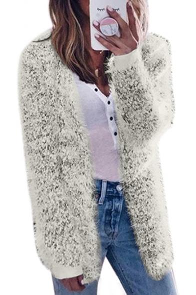 Collarless Plain Long Sleeve Tunic Faux Fur Coat