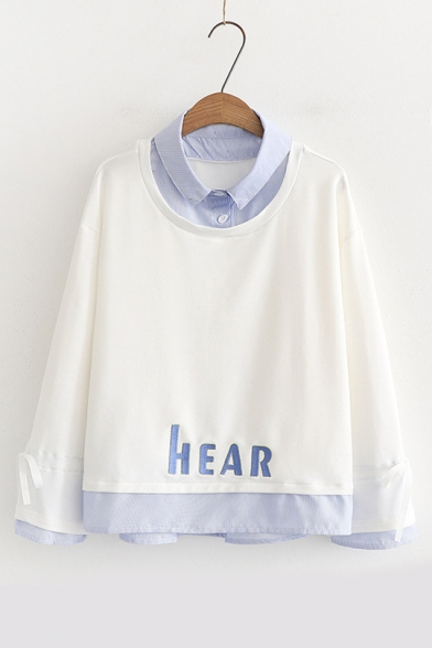Piece Sleeve Fake Collar Long Lapel Two Letter HEAR Sweatshirt Embroidered qvXv5f