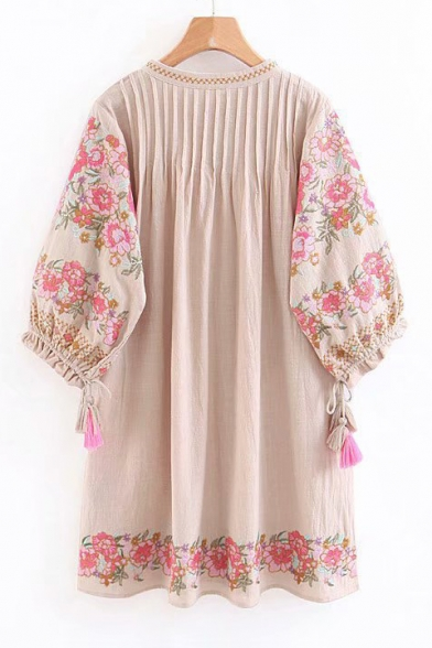 Floral Embroidered Tassel Embellished Drawstring V Neck 3/4 Length Sleeve Mini A-Line Dress