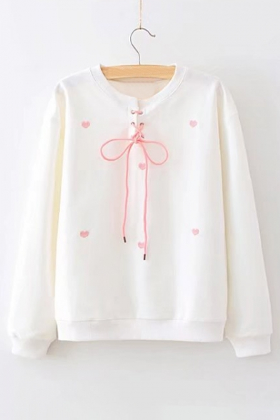 Long Round Sweatshirt Lace Sleeve Neck Heart Embroidered Front Up IYx8xgf