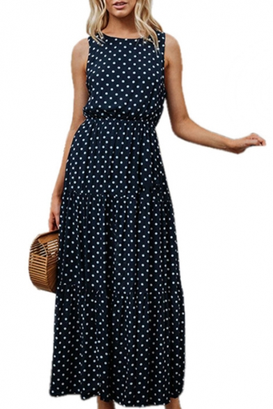 Polka Dot Printed Round Neck Sleeveless Maxi Beach Dress