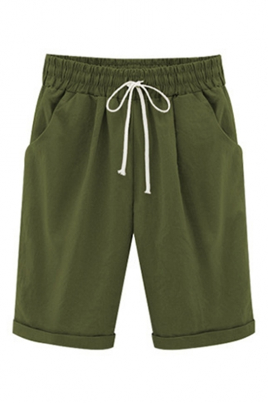Summer Drawstring Waist Plain Leisure Shorts