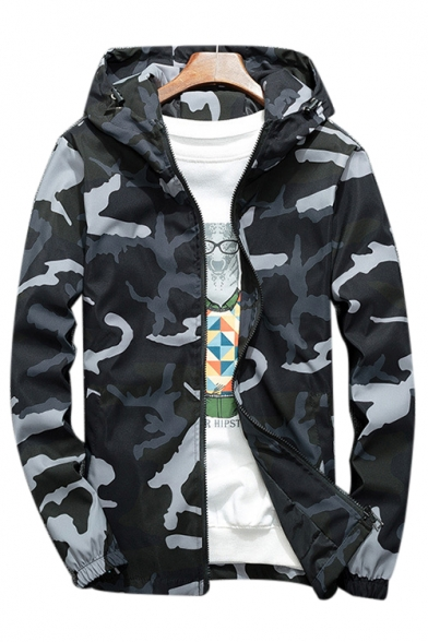 46dc63301eb8 Zip Up Long Sleeve Camouflage Printed Hooded Jacket - Beautifulhalo.com