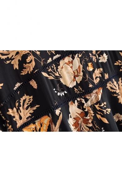 Bohemia Style Floral Printed V Neck Half Length Sleeve Mini A-Line Dress