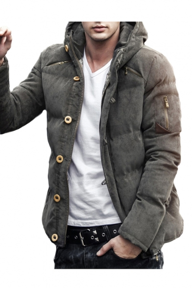 Button Front Long Sleeve Plain Quilted Hooded Down Jacket