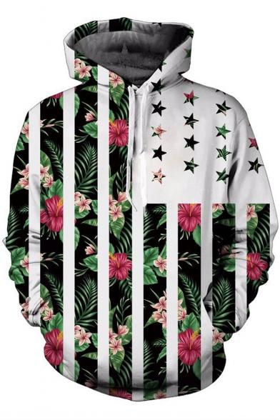Contrast Striped Star Floral Printed Long Sleeve Unisex Hoodie