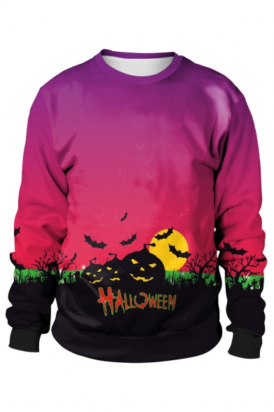HALLOWEEN Letter Moon Pumpkin Printed Round Neck Long Sleeve Sweatshirt