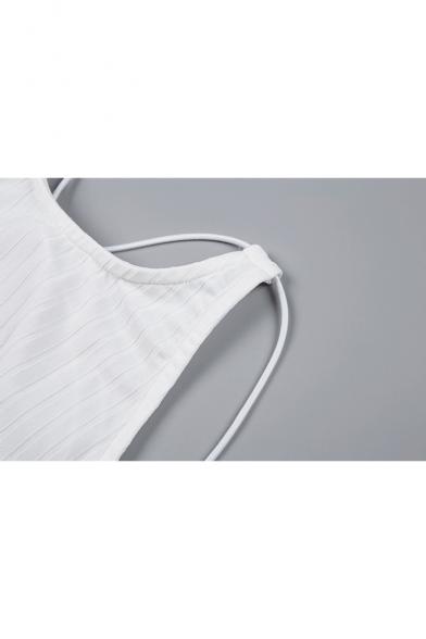 Halter Pencil Dress Midi Ribbed Plain Sleeveless 7wqI0xP47r