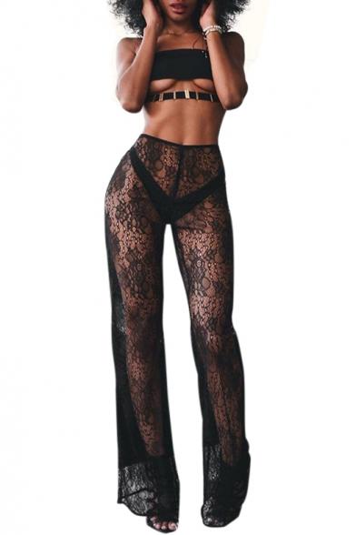 High Waist Sexy Sheer Lace Wide Leg Pants