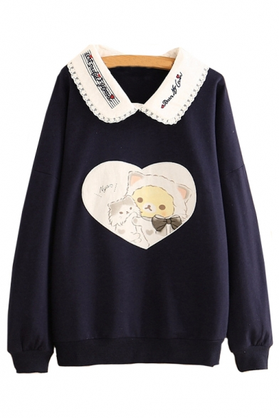 Lapel Collar Cat Printed Long Sleeve Leisure Sweatshirt