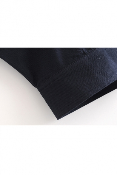 Lapel Collar Long Sleeve Button Closure Plain Crop Jacket