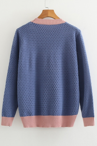 Out Pattern Sweater Hollow Round Knit Neck Sleeve Long Color Heart Letter Block CPwHx7