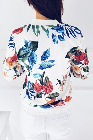 Stand Up Collar Floral Printed Long Sleeve Zip Up Baseball Jacket