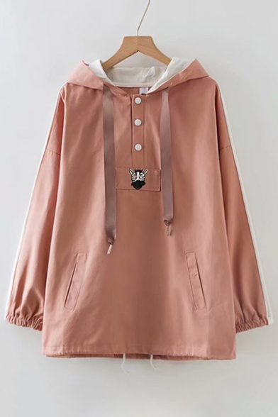 Hooded Front Jacket Long Loose Animal Sleeve Button Printed vq6wYpcx
