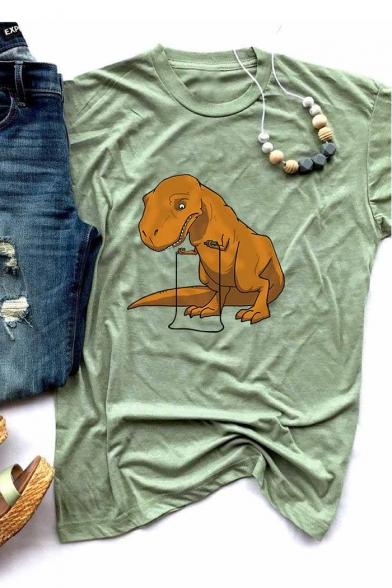 Cartoon Dinosaur Printed Short Sleeve Round Neck Casual T-Shirt