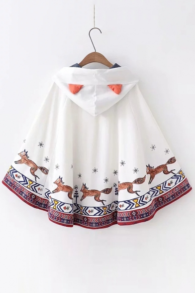 Leisure Loose Printed Cape Hooded Fox Cartoon 76Oawqx46