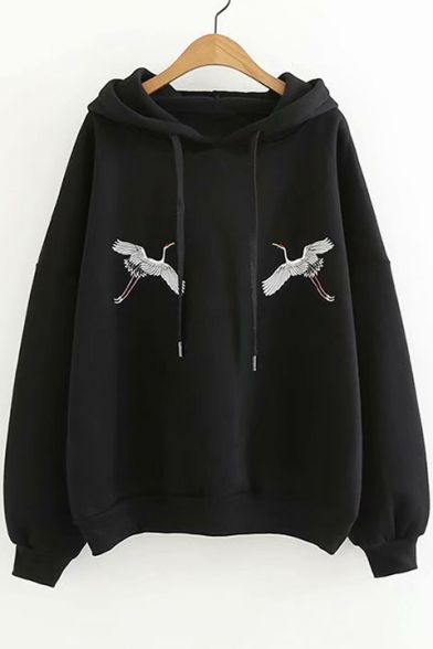 Long Leisure Sleeve Embroidered Hoodie Chic Crane EBqcOTzFz1