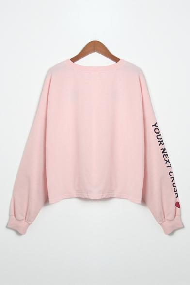 Pattern Break Sweatshirt Sleeve Letter Printed Long Round Heart Neck Loose xna1zS5w