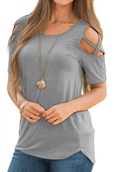 Shirt Short Sleeve T Plain Hollow Out Round Round Neck Hem Shoulder Leisure YxqqPXI