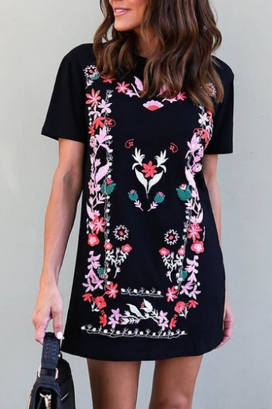 New Arrival Floral Printed Round Neck Short Sleeve Mini T-Shirt Dress