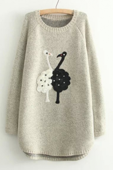 Pearl Embellished Swan Applique Round Neck Long Sleeve Tunic Sweater