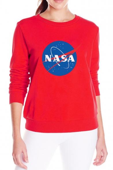 Sweatshirt Round Sleeve Printed Graphic Neck Long NASA YvCq0wP