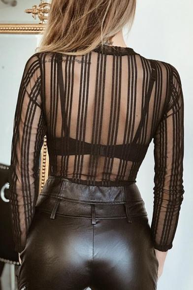 Striped Long Sheer Round Sexy Mesh Slim Top Sleeve Neck dpvwXUq