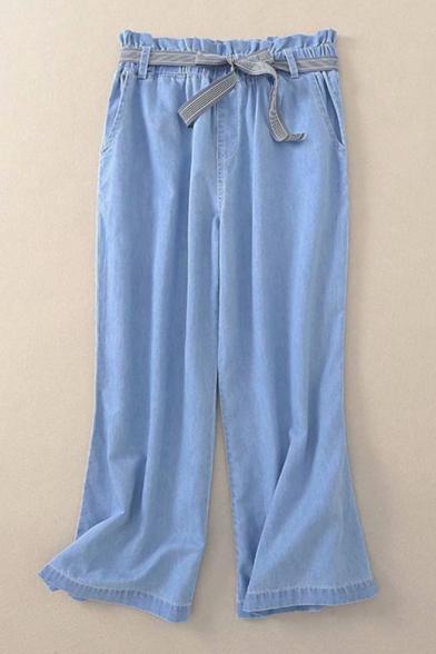Striped Printed Tie Waist Plain Loose Wide Leg Jeans