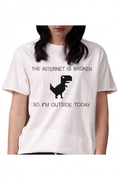 THE Letter INTERNET Tee Dinosaur Neck Sleeve Printed Round Short SpRqSHOw