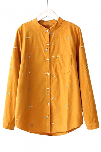 Animal Embroidered Stand Up Collar Long Sleeve Button Front Corduroy Shirt