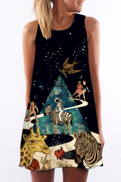 Astronaut Animal Galaxy Printed Round Neck Sleeveless Mini A-Line Dress