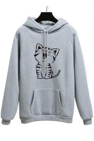 Cat Printed Raglan Long Sleeve Leisure Hoodie