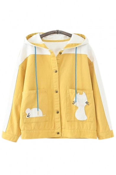 Color Block Cat Embroidered Long Sleeve Button Closure Hooded Jacket