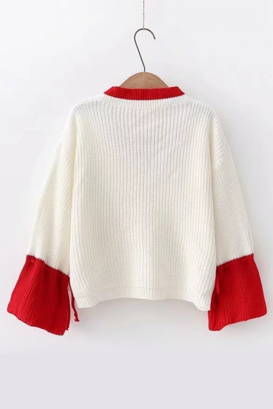 Color Sleeve Long V Block Chic Sweater Neck BqrHBwO
