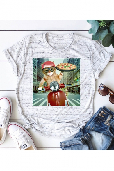 Sleeve Motorcycle Neck Comic Pizza Shirt T Printed Round Cat Short Zww5qX0