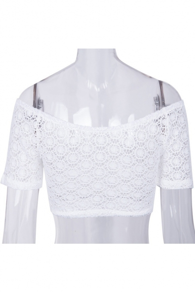 Hollow Out Off The Shoulder Short Sleeve Sheer Crop Blouse