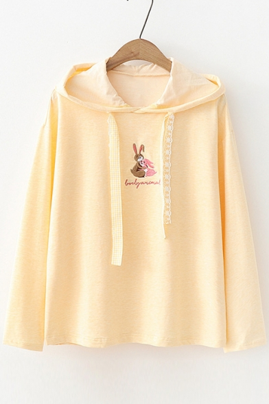 Lovely Animal Letter Embroidered Lace Drawstring Long Sleeve Hoodie