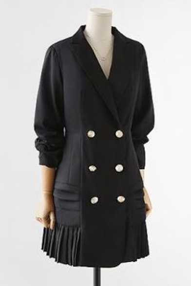 Notched Lapel Collar Plain Long Sleeve Pleated Hem Double Breasted Blazer