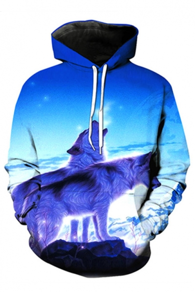 Snow Mountain Wolves Printed Long Sleeve Oversized Hoodie