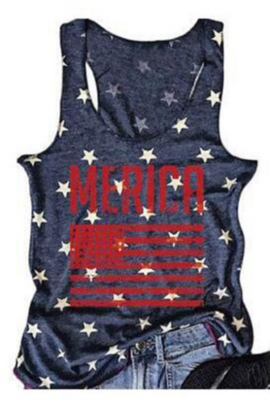 Tank Leisure Letter Sleeveless Neck Printed Round Star fxqZn8TPP