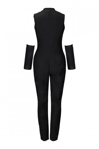 Zipper Front Sleeveless Skeleton Printed Skinny Jumpsuit