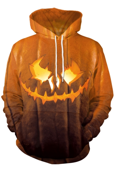 3D Pumpkin Printed Long Sleeve Halloween Series Hoodie