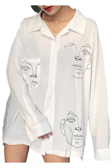 Image of Abstract Profile Printed Lapel Collar Long Sleeve Button Front Tunic Shirt