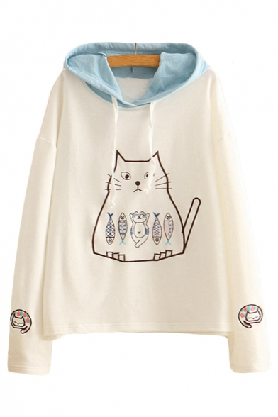 Sleeve Hood Leisure Hoodie Fish Long Embroidered Contrast Cat zCxHtqXw