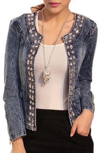 Collarless Diamante Long Sleeve Open Front Crop Denim Jacket