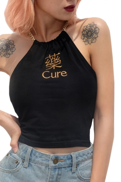 Embroidered Cami CURE Halter Chain Letter Chinese Sleeveless Crop xww4vH6q