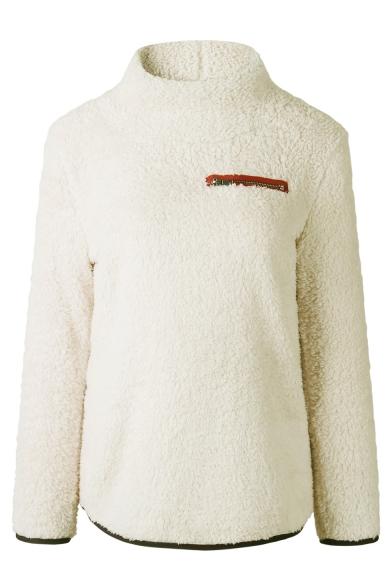 Faux Fur Plain Long Sleeve High Neck Zipper Embellished Sweater