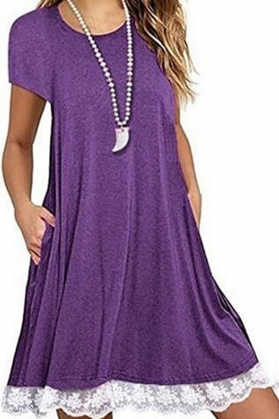 Lace Insert Hem Round Neck Short Sleeve Midi T-Shirt Dress